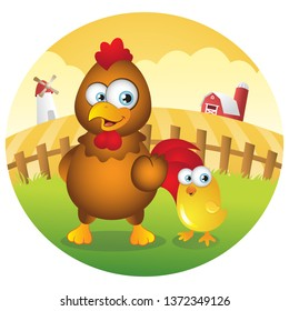 Cartoon chicken and baby chick in Farmland