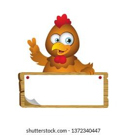 Cartoon Chicken with Big Signboard