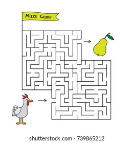 Cartoon chicken maze game. Funny game for children education
