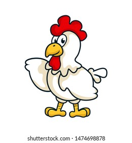 cartoon chicken raising a had. it can be used as loo