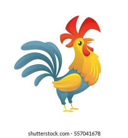 Cartoon chicken rooster posing. Vector illusration of new year symbol