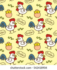 Cartoon chicken seamless pattern