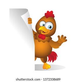Cartoon Chicken standing behind Blank Sign
