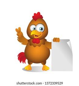 Cartoon Chicken standing beside Blank Sign