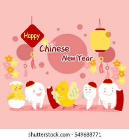 cartoon chicken and teeth with red couplet for happy chinese new year