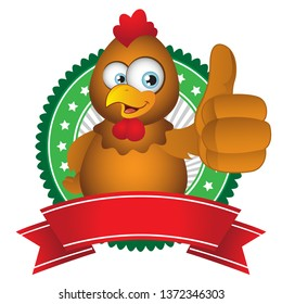 Cartoon Chicken thumbs up with badge label