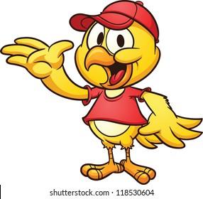 Cartoon chicken wearing a baseball cap. Vector clip art illustration with simple gradients.