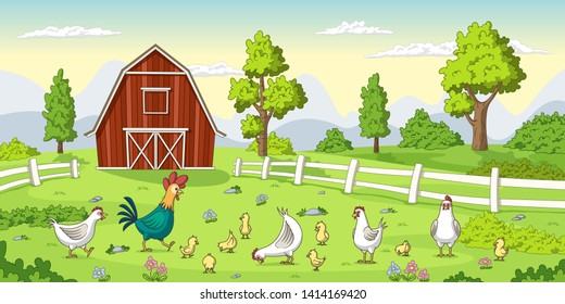 Cartoon chickens on a farm. Summer Landscape with red house and fence.