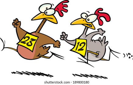 cartoon chickens racing