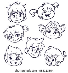 Cartoon child face icons. Vector set of children or teenagers heads outlined. Cutout illustration. Pretty kids