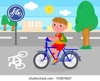 Cartoon child riding a bike on bicycle lane, vector illustration