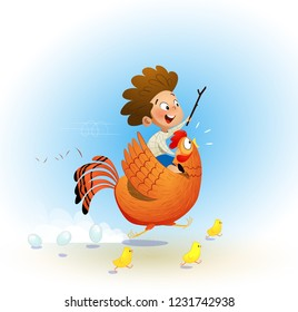 Cartoon child riding rooster and plays with cavalryman. The concept of childhood, holidays, carelessness. Vector illustration