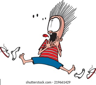 A cartoon child scared out of his socks. Vector file available. Scared out of Socks