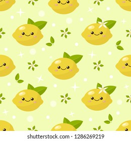 cartoon childish fruits of lemon in kawaii style, with smiling faces, flowers of lemon and green leaves, seamless vector background