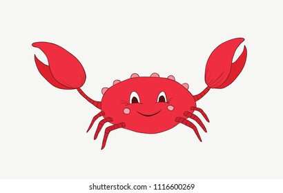Cartoon childish red crab with a big smile