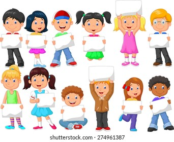 Cartoon children with blank sign