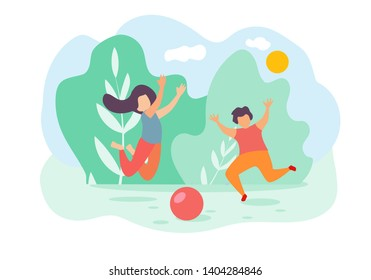 Cartoon Children Boy and Girl Jump and Play Toy Ball Outside Vector Illustration. Summer Holidays, Nature Outdoors, Park Grass. Happy Childhood, Daughter Son Family Love, Baby Activity Fun Game