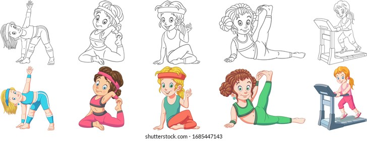 Cartoon children. Clipart set for kids activity coloring book, t shirt print, icon, logo, label, patch or sticker. Vector illustration.