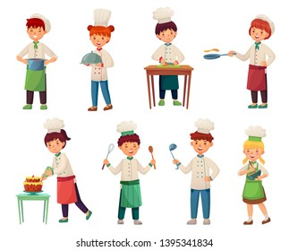 Cartoon children cooks. Little chief cook, child cooking food and young kitchen chiefs vector illustration set