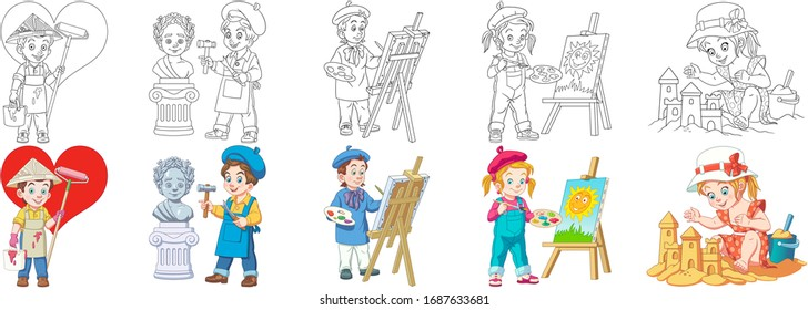 Cartoon children. Cute designs for kids activity coloring book, t shirt print, icon, logo, label, patch or sticker. Vector illustration.