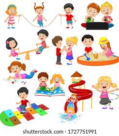 Cartoon children with different hobbies and sport activities