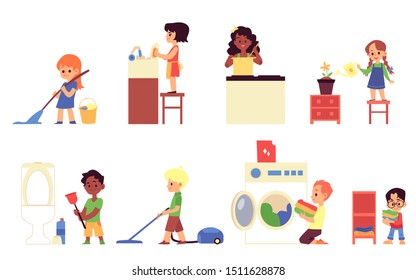 Cartoon children doing household chores - washing dishes, cooking, cleaning the floor and toilet, loading and folding laundry, Isolated flat set - vector illustration.