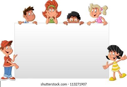 Cartoon children in front of white board. Presentation screen / paper card.