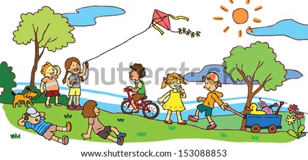 Cartoon Children Having Good Time Playing Stock Vector Royalty Free