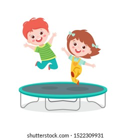 Cartoon Children Jumping On Trampoline On White Background Vector Illustration. Happy Girl And Boy Jumping Together On Trampoline. Happy Cartoon Child Playing Vector.