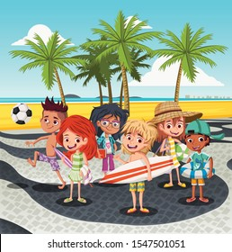 Cartoon children on Copacabana beach sidewalk. Kids in Rio de Janeiro beach, Brazil.