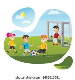 Cartoon Children Play Football Vector Illustration. Boy Kick Ball Girl Run. Soccer Match Competition on Green Grass Field. Sunny Summer Day. Kid Activity Sport Training. Childhood Fun