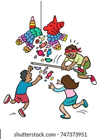 Cartoon of children playing with a Piñata