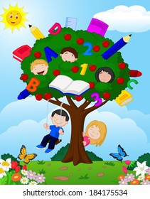 Cartoon children playing Illustration in an apple tree