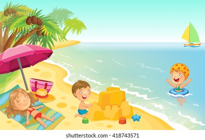 Cartoon children playing on the beach with space for text