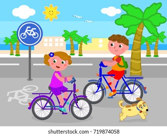 Cartoon children riding bikes on bicycle lane, vector illustration