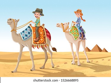 Cartoon children riding camels through the sand dunes in the desert. Camel caravan on Egypt.