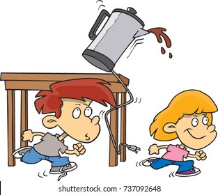 cartoon children running and knocking over a coffee pot