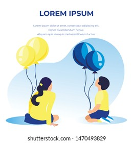 Cartoon Children Sitting Back to Viewer and Holding Colorful Balloons. Banner with Editable Greeting Text for Birthday. Family or Child Protection Day. Advertisement for Kids. Vector Flat Illustration