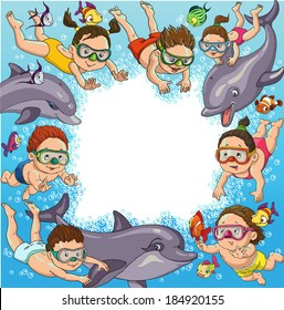Cartoon children swim with dolphins and fish. Space for text.