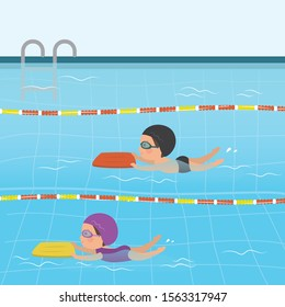 Cartoon children in swimsuits. Various Caucasian kids swimming in pool. Sports training background. Schoolboy and schoolgirl have active water sports. Swimming lessons. Flat vector illustration