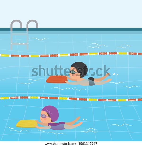 Cartoon Children Swimsuits Various Caucasian Kids Stock Vector Royalty Free 1563317947