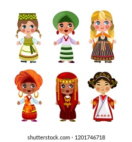 Cartoon children in traditional dress. Isolated on white background.