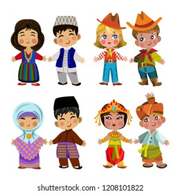 Cartoon children in traditional dress. Isolated on white background. Vector illustration of multicultural national children