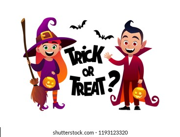 Cartoon children witch and vampire costume trick or treat background vector