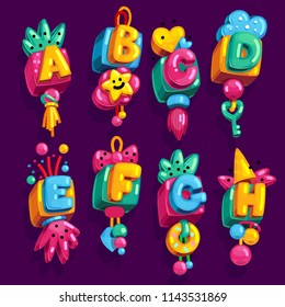 cartoon children's font cube suspension with color letters