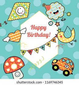 Cartoon children's postcard in vector. Happy Birthday! Cute illustration.