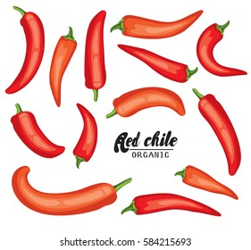 Cartoon chile pepper. Ripe red vegetable. Vegetarian delicious. Eco organic food.  Flat vector design, isolated on white background.