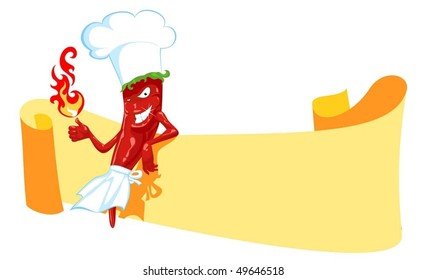 cartoon chili chef with fire and banner