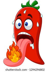 Cartoon chili pepper with a tongue burning