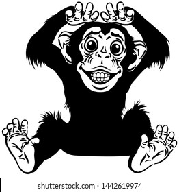 cartoon chimp ape or chimpanzee monkey smiling cheerful with a big smile on face showing teeth. Positive and happy emotion. Sitting pose. Front view. Black and white isolated vector illustration